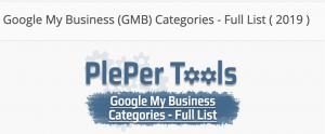 Googleマイビジネスカテゴリ一覧