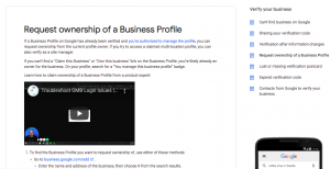 Request ownership of a Business Profile